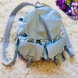 Prada Tessuto Nylon Leather accented backpack blue